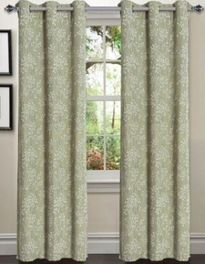 Tresil Linen Blend Jacquard Curtain  Set of 2 (Sage)