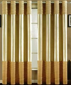 Venice Faux Silk Curtain Panel with Crushed Velvet Accent (Beige)