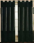 Venice Faux Silk Curtain Panel with Crushed Velvet Accent (Black)