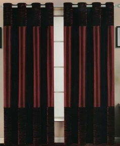Venice Faux Silk Curtain Panel with Crushed Velvet Accent (Burgundy)
