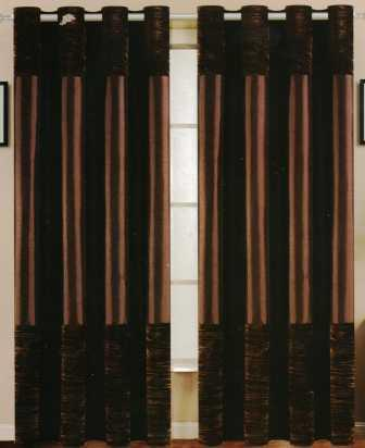Venice Faux Silk Curtain Panel with Crushed Velvet Accent (Chocolate Brown)