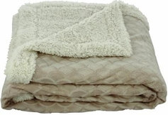Waves 50x60 Sherpa Lined Throw (Beige)