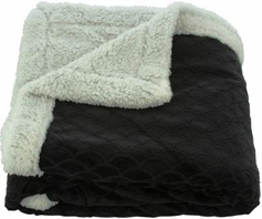 Waves 50x60 Sherpa Lined Throw (Black)