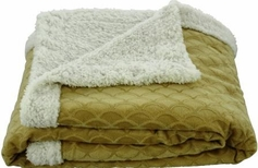 Waves 50x60 Sherpa Lined Throw (Gold)
