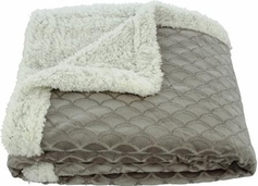 Waves 50x60 Sherpa Lined Throw (Gray)