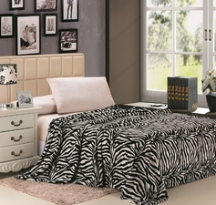 Zebra Print Blanket (White & Black)