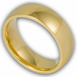 6MM Classic Domed Gold Plated Stainless Steel Wedding Ring