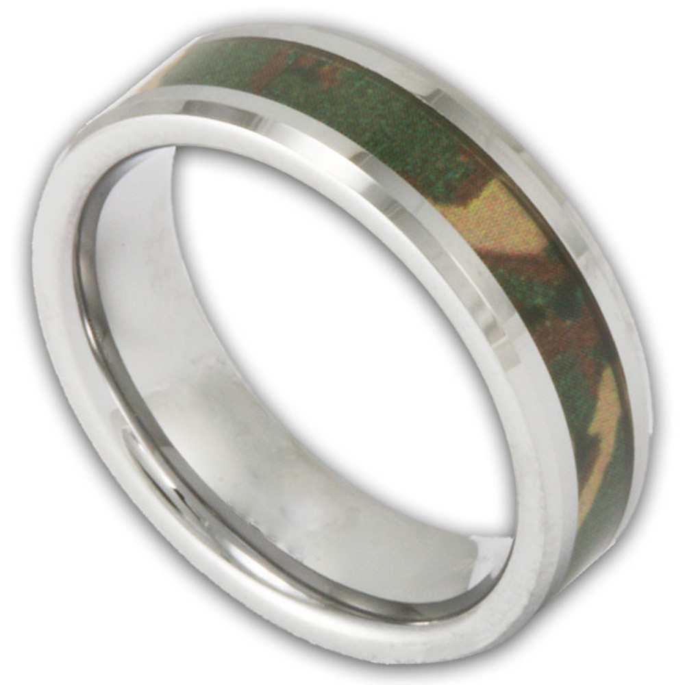 6MM Woodland Camo Band Women's or Men's Tungsten Camouflage Wedding Ring