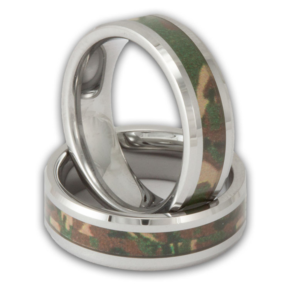 6mm woodland camo band womens or mens tungsten camouflage wedding ring - Womens Camo Wedding Rings