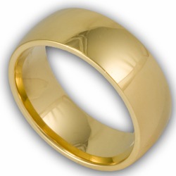 8MM 18K Gold Plated Stainless Steel Domed Mens Ring