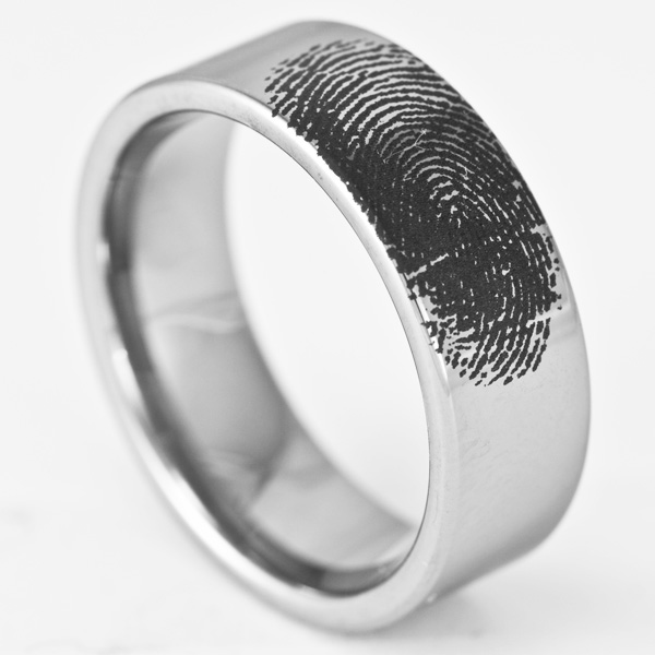 8MM Personalized Tungsten Fingerprint Ring Pipe Cut Band By Ring Ninja
