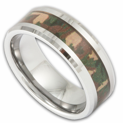8MM Woodland Camo Band Men's Tungsten Camouflage Wedding Ring