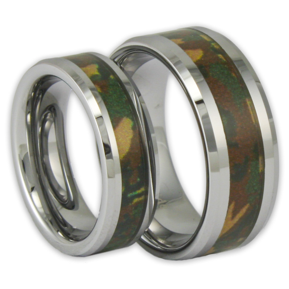 his and her woodland camo tungsten ring set couples camouflage wedding bands - Camouflage Wedding Ring Sets