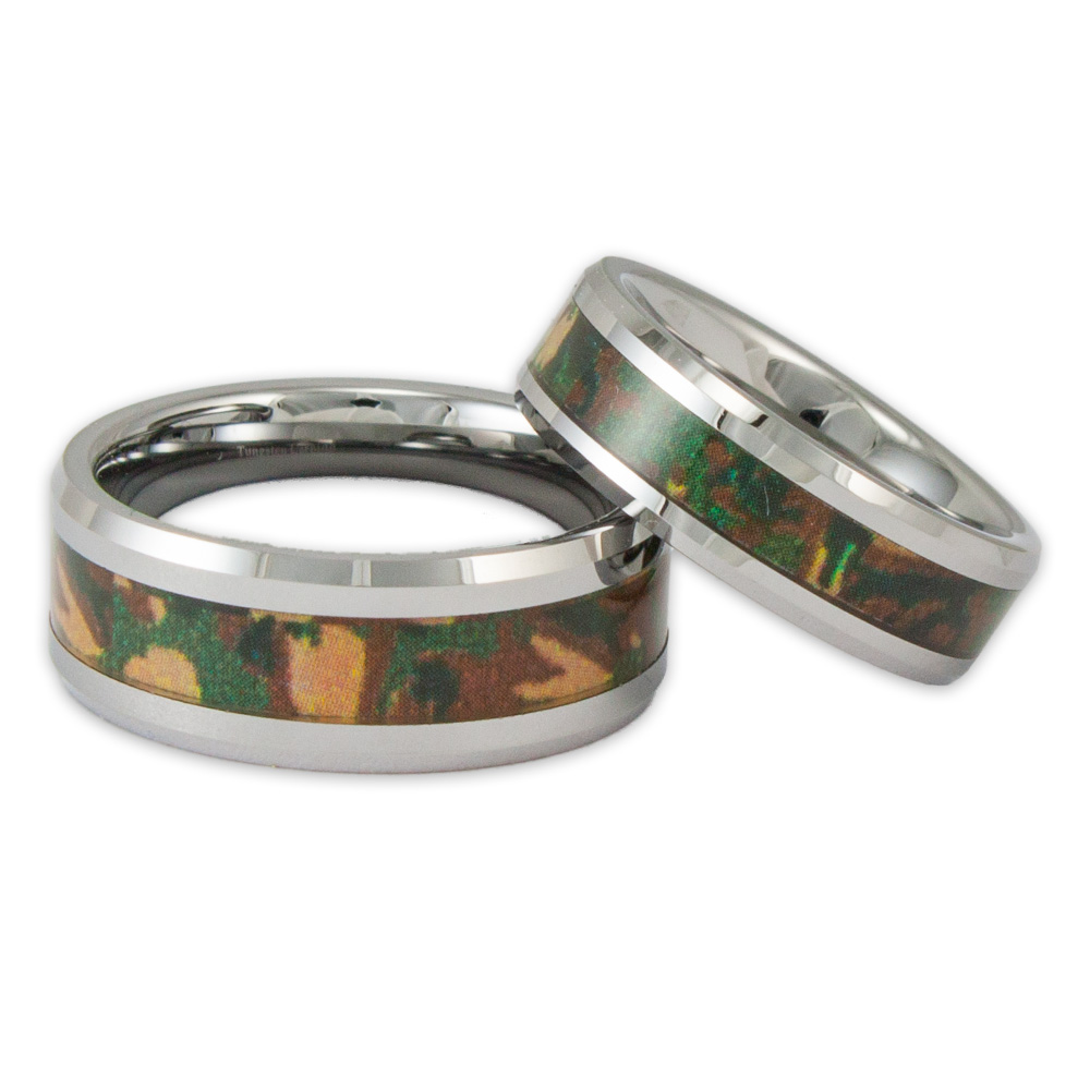 his and her woodland camo tungsten ring set couples camouflage wedding bands - Camouflage Wedding Rings For Her