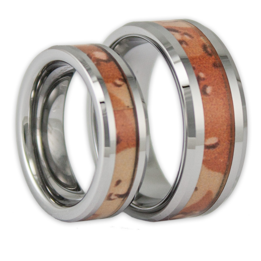 His And Hers Desert Camo Tungsten Ring Set Camouflage Wedding Bands By Ring N