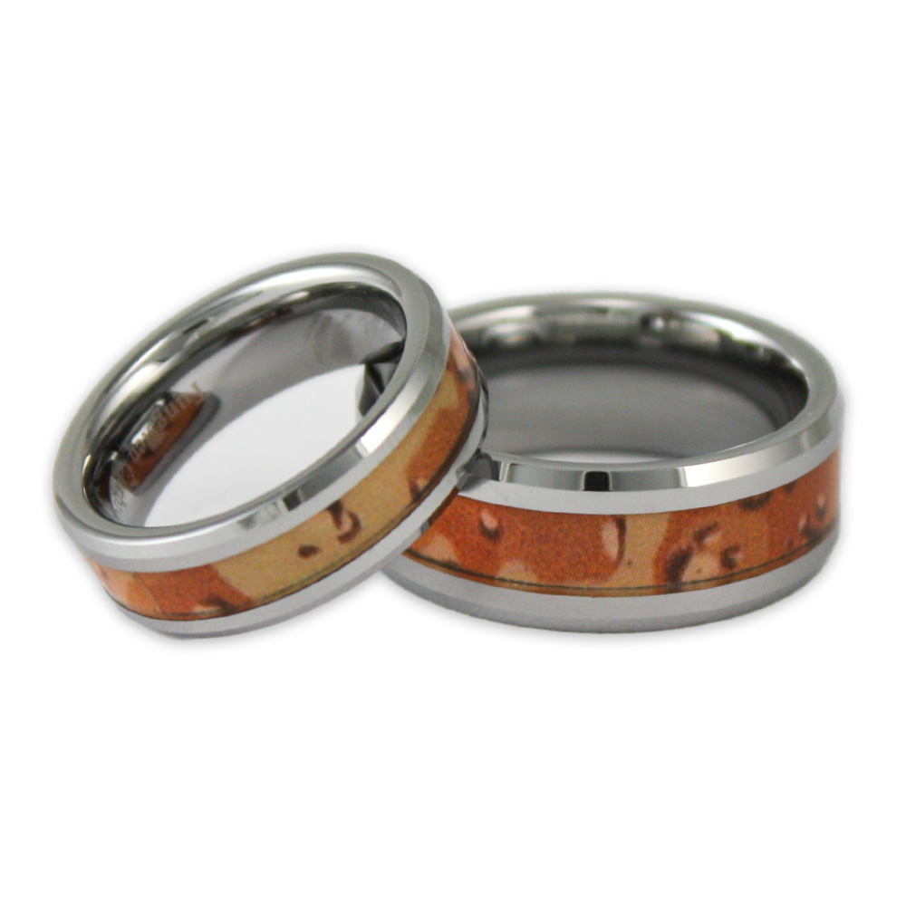 His And Hers Desert Camo Tungsten Ring Set Camouflage Wedding Bands By Ring Ninja