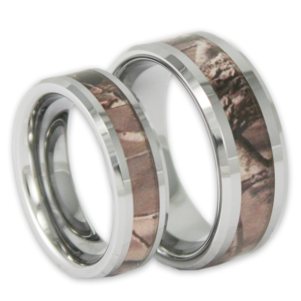 his and hers tree camo tungsten ring set camouflage