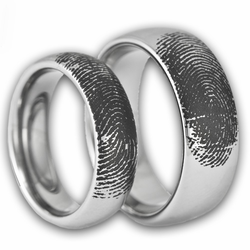 His and Hers Tungsten Fingerprint Ring Set Available in Silver Gold and Rose Gold