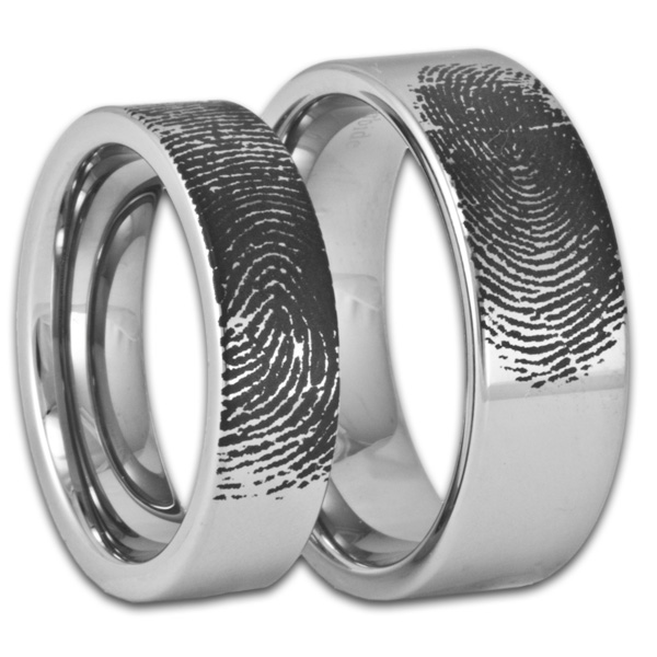 Matching Mens And Womens Tungsten Fingerprint Rings Pipe Cut Style Bands