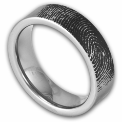 6MM Pipe Cut Tungsten Fingerprint Ring Women's or Men's Band