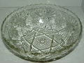Cut Glass Serving Bowl Scalloped Edge 8 1/2 inches