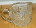 Heavy Cut Crystal Creamer or Small Pitcher with Etched Frosted Flowers