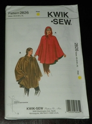 Kwik Sew New Uncut Pattern # 2826 Misses Sizes XS-XL Ponchos