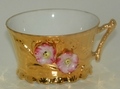 Ornate Gold Coffee Tea Cup Floral Applied Pink Flowers