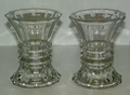 Pair of Optic Glass Candle Vases Rib & Flat Panel Design 5 1/2 inches Tall