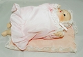 Porcelain Baby Doll 10 inch Pretty in Pink with Pink Blanket