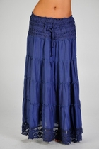 Ashlyn Layers Tiered Long Skirt, Navy