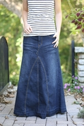 Ava Long Jean Skirt | Modest Denim Skirt Sizes 4-18