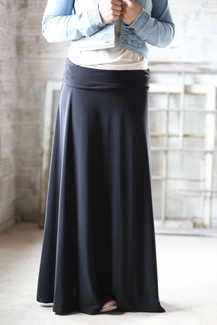 Beautiful Flowing Long Skirt | Modest Black Maxi Skirt Sizes 6-20