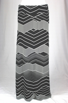 Black and White Chevron Long Skirt, Sizes 0-10