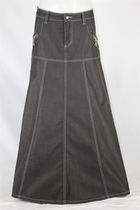 Black Delight Long Jean Skirt, Sizes 6-18