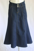 Classic Gored Lines Long Jean Skirt, Sizes 2-16 Petite -  FINAL SALE NO RETURNS OR EXCHANGES