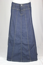 Classic Gored Long Jean Skirt PETITE, Sizes 4-18