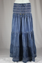 Crinkled Tiered Layers Long Jean Skirt 3