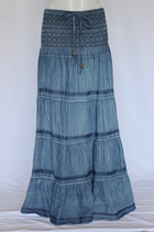 Crinkled Tiered Layers Long Jean Skirt 1