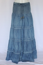 Crinkled Tiered Layers Long Jean Skirt 2