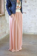 MUAVE Crochet Waistband Modest Maxi Skirt With Pockets