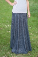 Dark Blue A-line Long Skirt | Elastic Waistband Modest Skirt Size 6-10