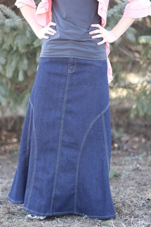 Darling Denim Indigo Modest Skirt Long Jean Skirt Plus