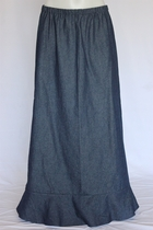 Darling Navy Ruffle Long Jean Skirt, Sizes 4-20