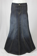 Day To Day Black Long Jean Skirt, Sizes 2-16