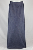 Diagonal Stretch Long Denim Skirt, Sizes 6-18