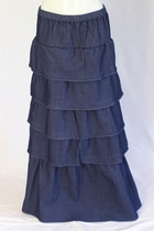 Dilat Tiered Layered Long Jean Skirt, Sizes 2-12