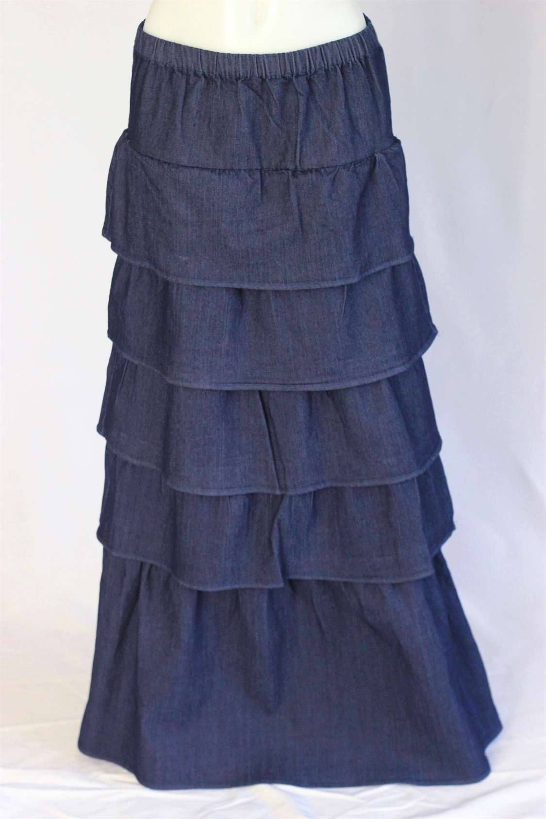 Dilat Tiered Layered Long Jean Skirt Sizes 2 12