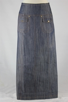 Double Pockets Long Denim Skirt, Sizes 6-18