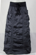 Double Ruched Dark Gray Long Skirt, Sizes 4-18